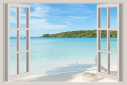 Summer, Travel, Vacation and Holiday concept - The open window, with sea views in Phuket ,Thailand.