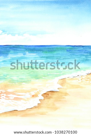 Stock Photo Summer tropical beach with golden sand and waves. Hand drawn watercolor illustration
