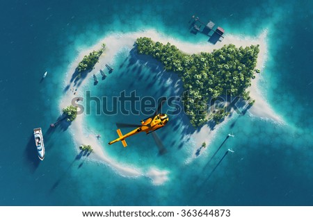 Summer tropical island. Small helicopter flying above private paradise tropical island with wind turbines energy and  bungalows