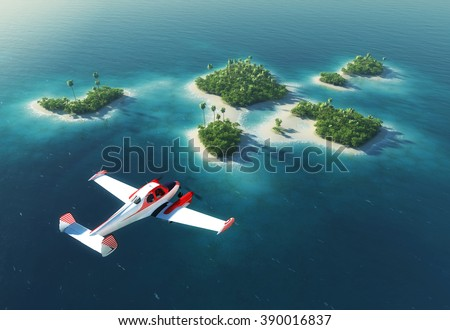 Summer tropical island. Small sea airplane flying above paradise tropical islands