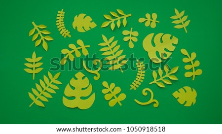 Summer Tropical leaves, plants Frame. Paper cut style. Exotic summertime.  Beautiful dark green jungle floral background. Monstera.