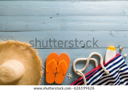 b1753ec6c251 colored flip-flops with flowers  95674495 · Summer vacation background  theme with seashells
