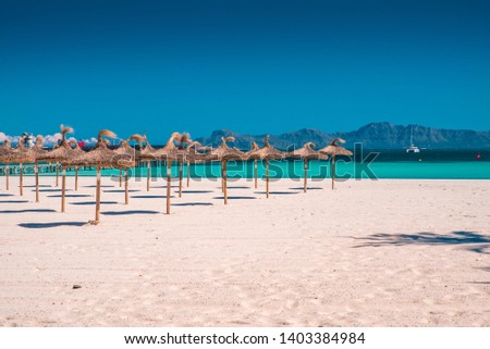 Summer vacation beach. Concept photo, holiday resort. Tropical beach, sun, hot weather, edit space #1403384984