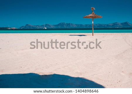 Summer vacation beach. Concept photo, holiday resort. Tropical beach, sun, hot weather, edit space #1404898646