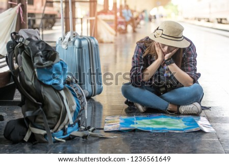 Summer vacation concept dating and tourism - coupled with a train map and luggage in Bangkok, Thailand #1236561649