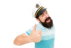 Summer vacation. Hipster beard mustache sailor hat. Captain of cruise liner. Brutal seaman isolated on white. Captain concept. Welcome aboard. Bearded man captain of ship. Sea cruise. Travel concept.