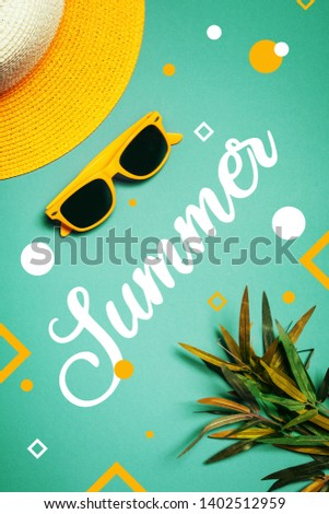 Summer vacation holiday concept with female straw hat and plastic sunglasses #1402512959