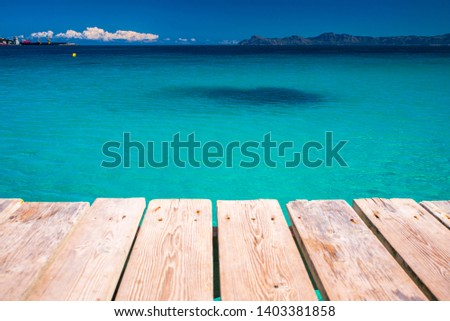 Summer vacation, holiday resort concept photo. Blue water, tropical sea, edit space #1403381858