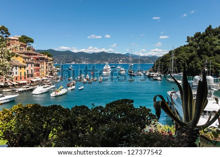 Summer vacation in Portofino village, Ligurian Coast, Italy