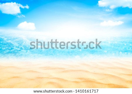 Summer vacation outdoor and travel holiday adventure concept.Copy space blur tropical beach with bokeh sun light wave on blue sky and white cloud abstract background. Vintage tone filter effect color. #1410161717
