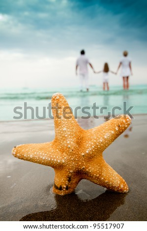 Summer vacation - portrait of  family at the beach