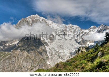 summer view Mont Blanc from Veny valley, Courmayeur, Italy.