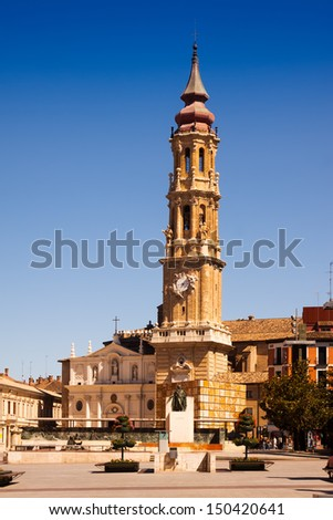 Summer view of Catedral de la Seo (San Salvador) in Zaragoza. Aragon, Spain