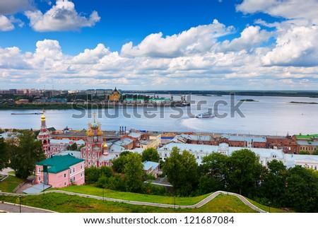 Summer view of historic district of Nizhny Novgorod. Russia - stock photo