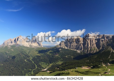 summer view of Italian Dolimites with Langkofel and Sella mountain