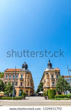Summer view of Market Street (Hungarian: Piac utca), the major street of Debrecen city, Hungary Stock fotó ©