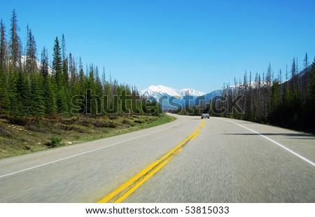 Summer view of mountain road at jasper national park, alberta, canada