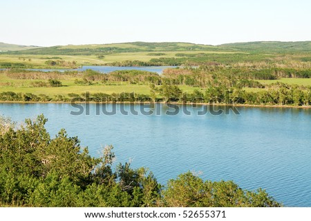 Summer view of prairies and lake in glacier national park, montana, usa