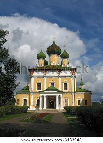 Summer view of Savior-Transfigurat ion cathedral in Uglich. (Uglich, Yaroslavl region, Golden Ring of Russia). - stock photo