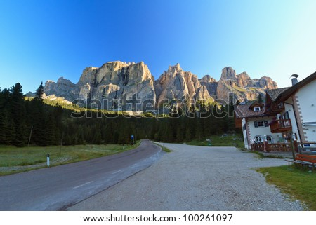 summer view of Sella group at morning, Italian Dolomites