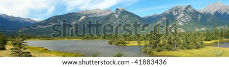 Summer view of the jasper lake and rocky mountains in the jasper national park, alberta, canada