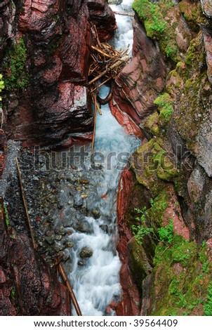 Summer view of the red rock canyon and creek in waterton lakes national park, alberta, canada