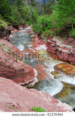 Summer view of the red rock creek and canyon in waterton lakes national park, alberta, canada