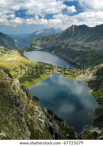 Summer view of the Tatra Mountains. Five Lakes Valley. - stock photo