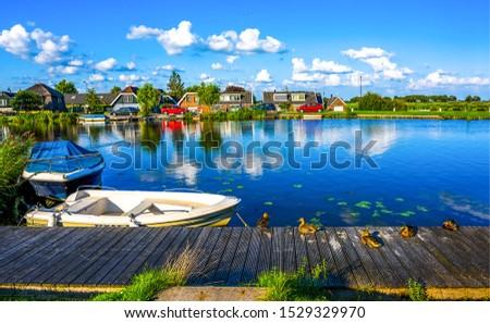 Summer village river pier landscape. Ducks on village river pier. Village river pier ducks scene. Summer village river pier scene #1529329970