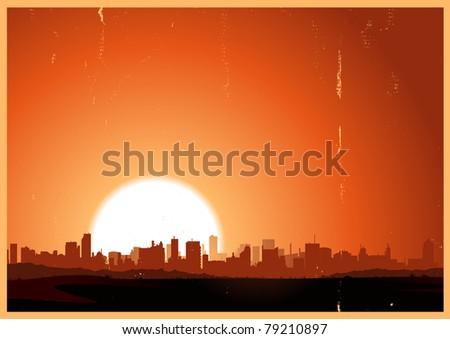 Summer Vintage City Landscape/ Illustration of a city landscape in the summer season, in the heat