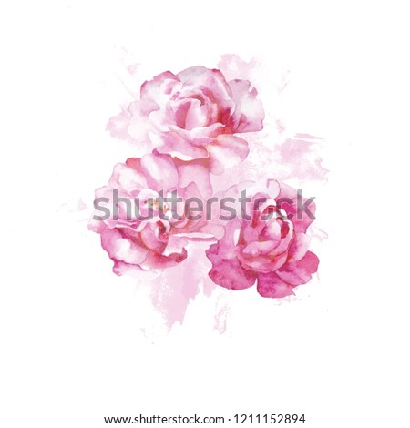 Summer watercolor hand drawn roses print. Botanical print. Spring romantic wedding print.  Perfect for greetings, invitations, manufacture wrapping paper, textile and web design #1211152894