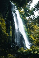 Summer Waterfall in Azores Islands