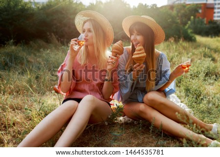 Summer weekend in countryside.  Two friends enjoying picnic  and holding croissants  in the park. Straw har, pastel colors. Sunset.