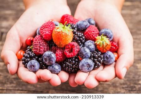 Summer wild berries in hands - raspberry, strawberry, blackberry and blueberry