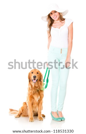 Summer woman with a cute dog - isolated over a white background