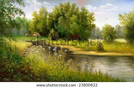 summer wood lake with trees and bushes