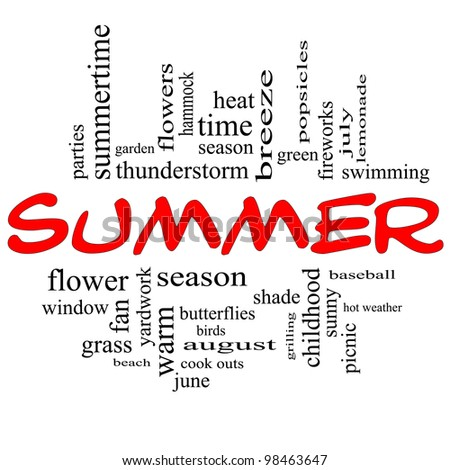 Summer Word Cloud Concept in Red Caps with great terms such as season, fireworks, swimming, baseball, warm, heat and more.