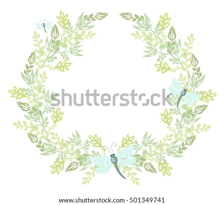 Summer wreath of plants. Garland of flowers and leaves with dragonfly.