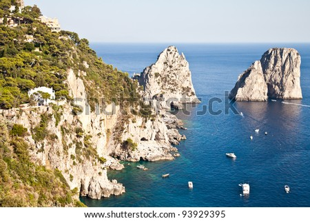 Summertime at Capri, beautiful isle in Naples Gulf, Italy