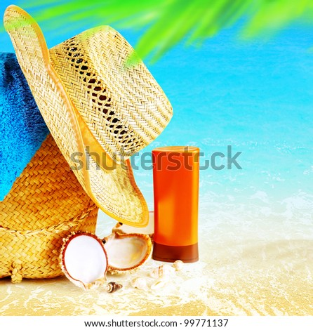Summertime holidays background, concept image of vacation and travel, beach items on the sand, paradise island for relaxing getaway, natural spa resort, freedom lifestyle - stock photo