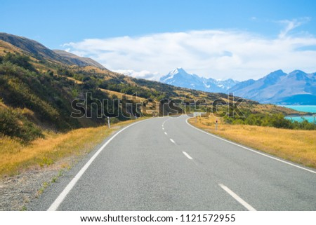 Summertime , Road to Mt. Cook, New Zealand national park, South Island New Zealand #1121572955
