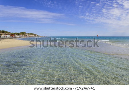 Summertime. The most beautiful sand beaches of Apulia: Alimini bay, Salento coast, Italy. It is a vast sandy coast protected by pine forests that grow from dunes. #719246941