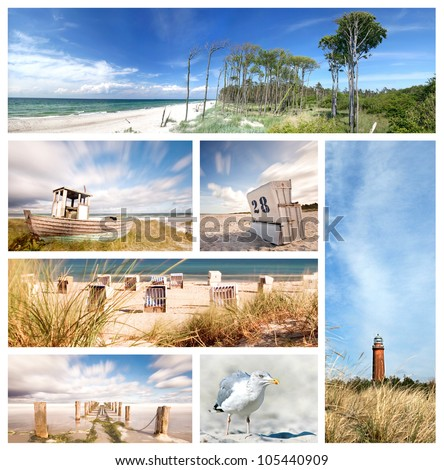 summertime theme photo collage composed of few images, baltic sea beach