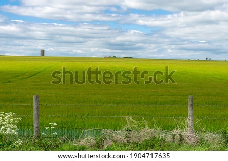Summertime view of a countryside field in rural Amesbury and the Salisbury plain in Wiltshire, England Stock photo ©