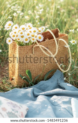 Summertime with eco straw bag with chamomile flowers standing on the grass with organic linen tablecloth for picnic. Summer concept. Photo stock ©