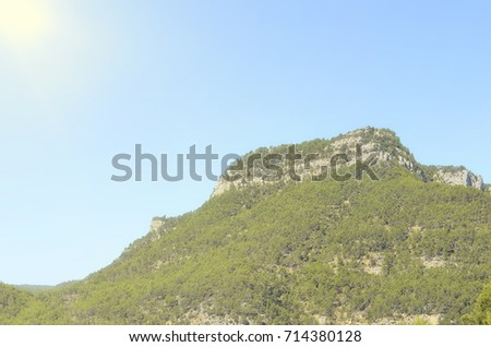 Shutterstock Summit - Morron de Campos - (963 meters), located in Montanejos (Castellon - Spain). Trees with leaves of green yellowish color, due to the sunlight. Vacations doing hiking at the mountain range.