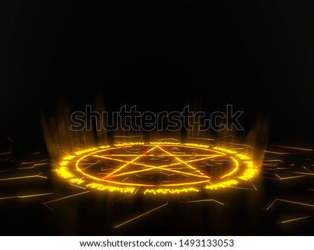 summon circle with pentagram on center. runic words for calling demons. yellow glowing details in dark. 3d illustration