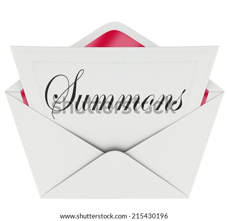 Summons word on a note in an envelope requiring you to appear in court before a judge for a case or lawsuit Foto stock ©
