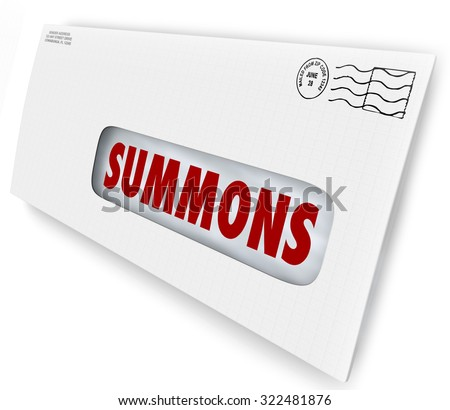 Summons word on an envelope or letter being served to offficially notify you of an obligation to appear in court for jury duty, a legal case or lawsuit Foto stock ©