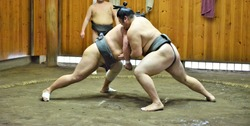 Sumo fighters and sumo wrestlers training in sumo stables preparing for the sumo tournament in Tokyo, Japan